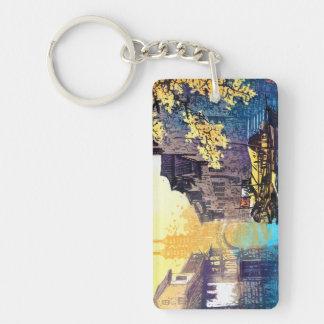 Chou Xing Hua Suzhou Scenery river sunset painting Double-Sided Rectangular Acrylic Keychain