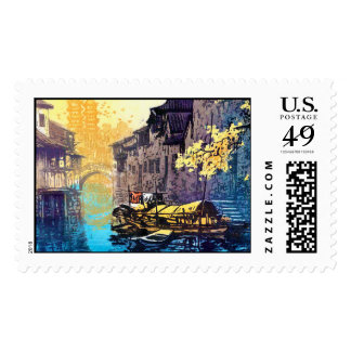 Chou Xing Hua Suzhou Scenery river sunset painting Postage Stamp