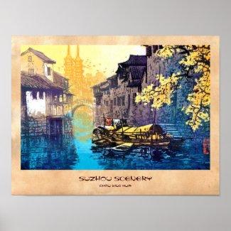 Chou Xing Hua Suzhou Scenery river sunset painting Print