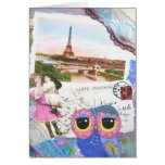 Chouette Owl Goes To Paris Greeting Card