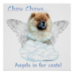 Chow Angel in Fur Coat Poster