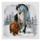 Chow Chow and horse Poster