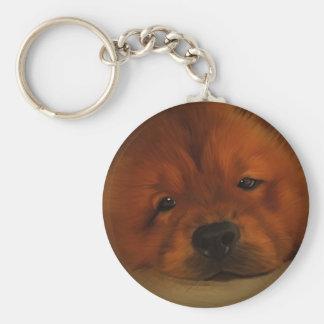 Chow Chow Basic Round Button Keychain