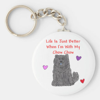 Chow Chow Black Life Is Just Better Keychain