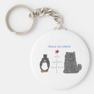 Chow Chow Black Peace On Earth Keychain