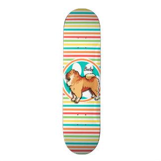 Chow Chow; Bright Rainbow Stripes Skateboard Deck