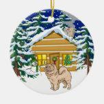 Chow Chow Christmas Log Cabin Christmas Tree Ornaments