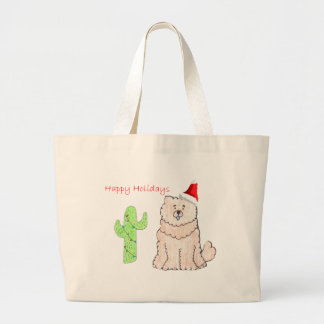 Chow Chow Cream Cactus Christmas Large Tote Bag