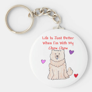 Chow Chow Cream Life Is Just Better Keychain