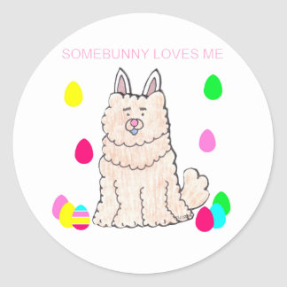 Chow Chow Cream Somebunny Loves Me Classic Round Sticker