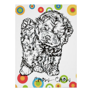 Chow Chow design on noble material Poster