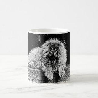 Chow Chow Dog on Porch, Black and White Coffee Mug