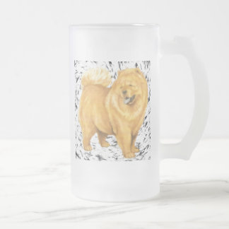 Chow Chow Frosted Glass Beer Mug