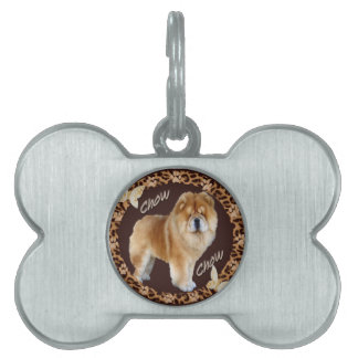 Chow Chow Leopard with Pawprint Pet Name Tag