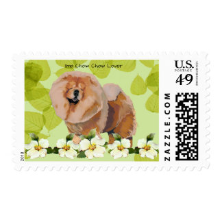 Chow Chow Lover on Green Leaves with Dogwood Postage