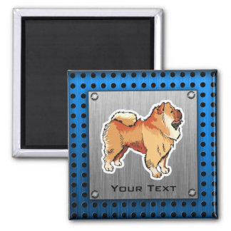 Chow Chow; metal look 2 Inch Square Magnet