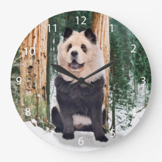 Chow chow panda  - cute dog - chow chow large clock