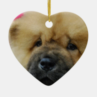 Chow Chow Puppy Double-Sided Heart Ceramic Christmas Ornament