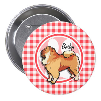 Chow Chow; Red and White Gingham Pin