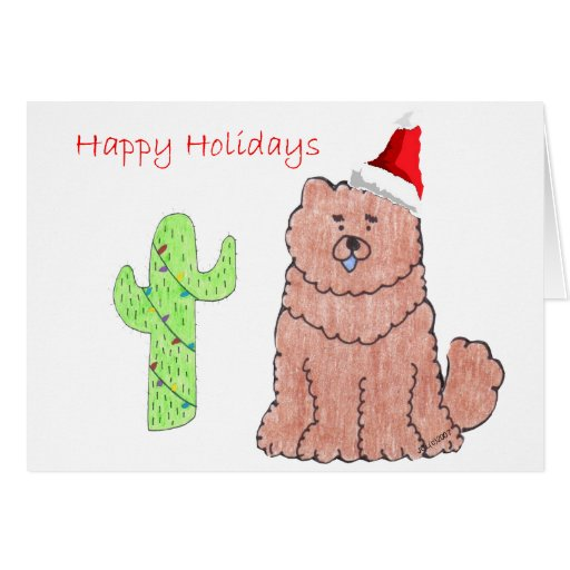 Chow Chow Red Cactus Christmas Greeting Card