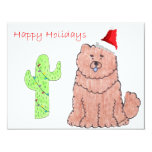 Chow Chow Red Cactus Christmas Personalized Invitations