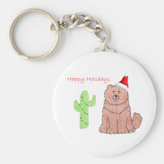 Chow Chow Red Cactus Christmas Keychain