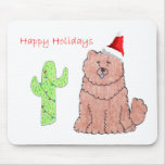 Chow Chow Red Cactus Christmas Mouse Pads