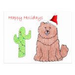 Chow Chow Red Cactus Christmas Postcards