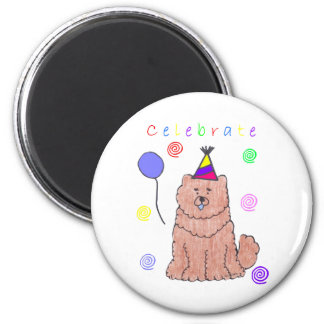 Chow Chow Red Celebrate 2 Inch Round Magnet