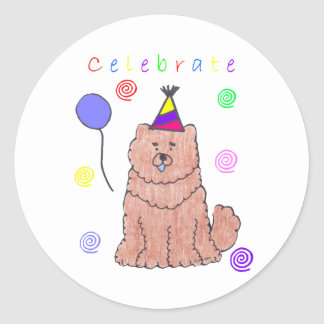Chow Chow Red Celebrate Classic Round Sticker
