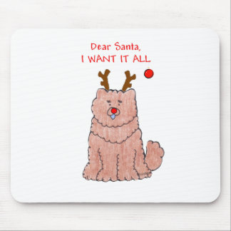 Chow Chow Red Dear Santa Mouse Pad