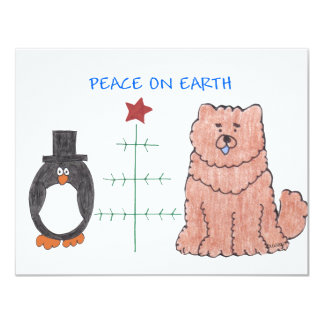 Chow Chow Red Peace On Earth Card
