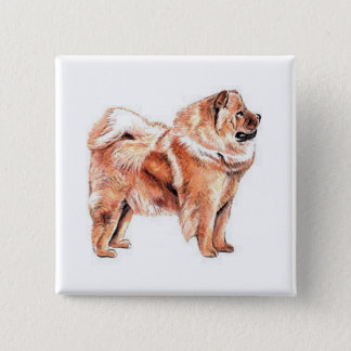 Chow Chow Red Pinback Button