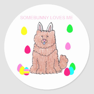 Chow Chow Red Somebunny Loves Me Classic Round Sticker