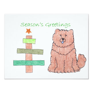 Chow Chow Red Stick Tree Card