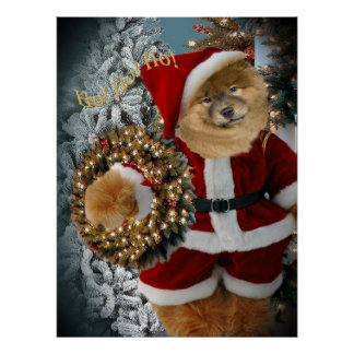 Chow Chow Santa Paws Christmas Wreath Prints