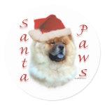 Chow Chow Santa Paws Round Stickers