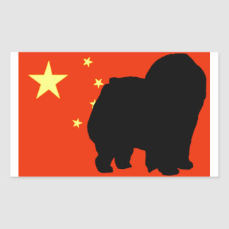 chow chow silhouette flag rectangular sticker