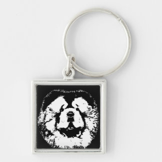 Chow Chow Square Metal Keychain