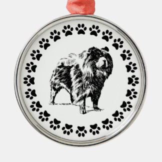 Chow Chow with Pawprints Metal Ornament
