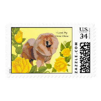 Chow Chow with Yellow Roses Postage