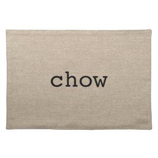 Chow eat faux linen burlap rustic chic initial jut cloth placemat