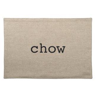 Chow eat faux linen burlap rustic chic initial jut place mats