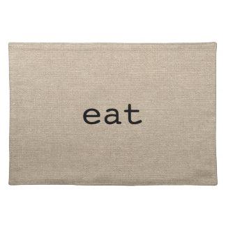 Chow eat faux linen burlap rustic chic initial jut placemat