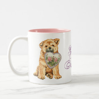 Chow Heart Mom Two-Tone Coffee Mug