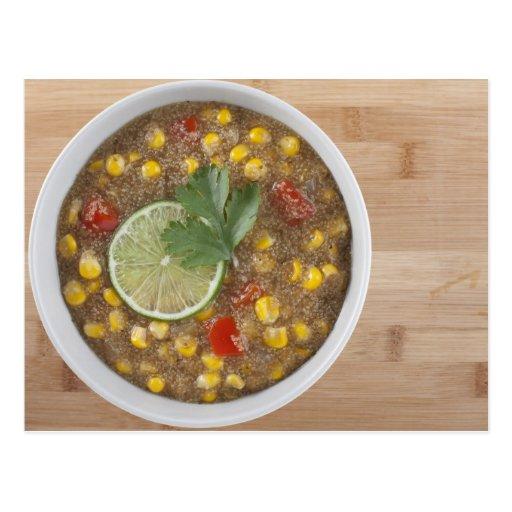 Chowder de maíz del amaranto con la cal postales