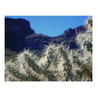 Choya Cactus with Mountains - Poster