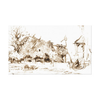 Choza cubierta con paja 1835 lienzo envuelto para galerías