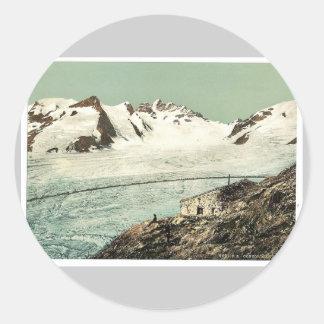 Choza de Concordia, Valais, montañas de, vintag de Etiqueta Redonda