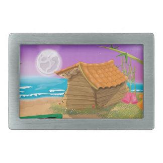 Choza de la playa en la playa iluminada por la hebilla de cinturón rectangular